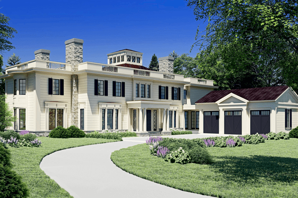 Front view of new home to be built in Weston, MA